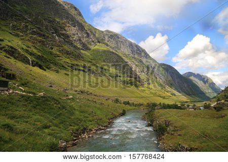 This is a small Norwegian mountain river formed by the melting of glaciers.