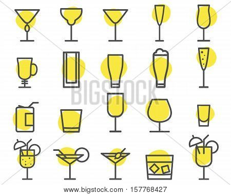 Beverage icons set. Cocktail, drinks outline symbols. Beer, wine, cognac emblems. Alcohol line cocktails pictogram isolate on shapes. Party elements isolated. Icons for website, print. .