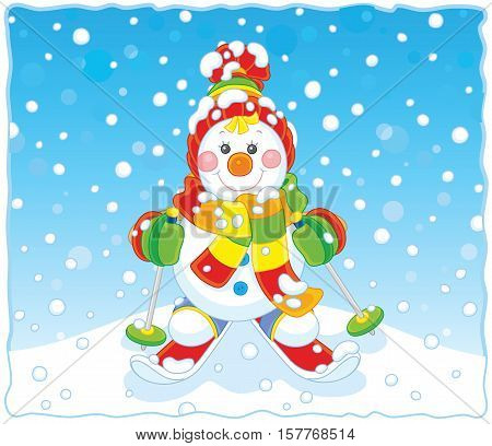 Funny Christmas snowman wearing a colorful scarf, a cap, mittens and skiing through snowfall