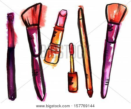 Makeup brushes, lip gloss, lipstick, and pencil on white background, hand drawn in watercolor and ink. A horizontal template for a makeup artist's business card or flyer design