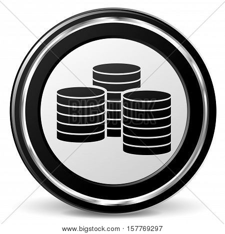 Illustration of coins black and gray icon