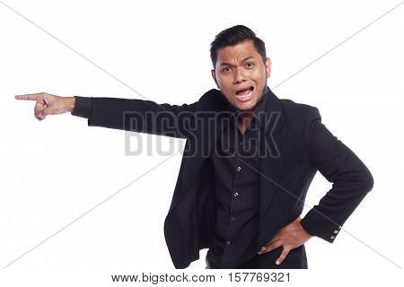 Men Showing His Expression Angry Face While His Finger Pointing At The Door