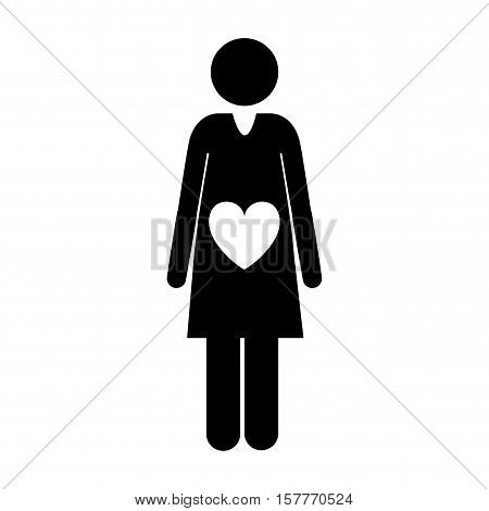 pictogram front view pregnant woman with heart in belly vector illustration