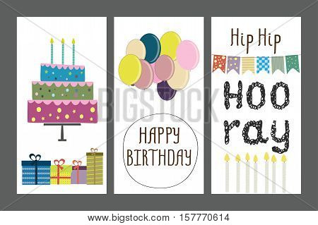 Set of birthday greeting cards design or template, stock vector illustration