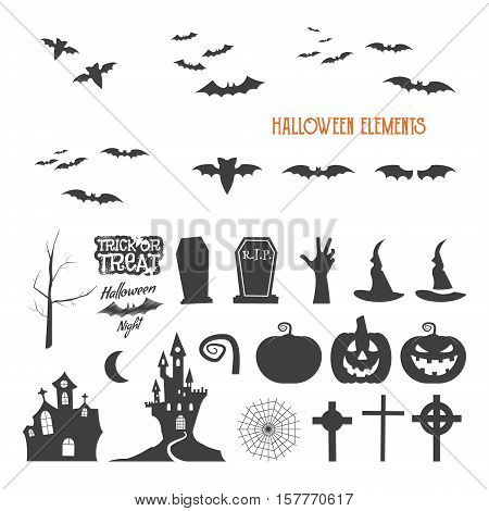 Set of halloween design creation tool kit. Icons isolate. Flat holiday design creator. Party symbols - pumpkin, bat, witches hat, vampire house, lonely tree. Create own scary design, tee, t-shirt.