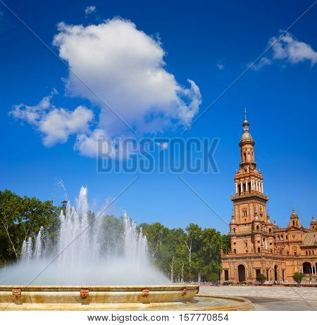 Seville Sevilla Plaza de Espana fountain Andalusia Spain square