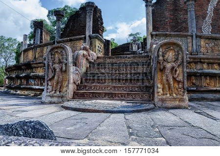 Ancient ruins Sri Lanka.Polonnaruwa temple.Medieval capital of Ceylon.