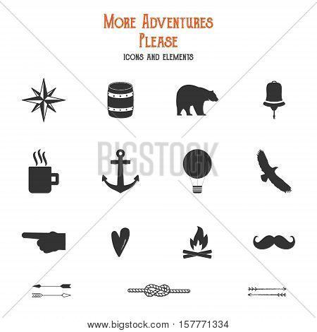 Outdoor icons and elements set for creation hiking, camping logo and other designs. Solid flat s isolated. Travel symbols gear. Hipster adventure filled elements. Create own badge, insignias.