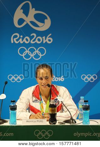 RIO DE JANEIRO, BRAZIL - AUGUST 13, 2016: Olympic champion Monica Puig of Puerto Rico during press conference after victory at tennis women's singles final of the Rio 2016 Olympic Games
