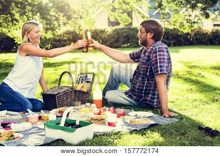 People Dating Picnic Togetherness Relaxation Concept