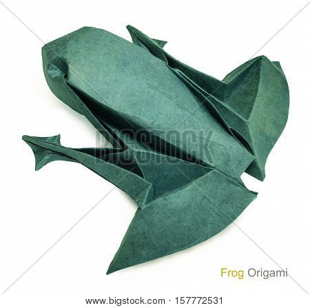 Origami green paper frog on a wtite background
