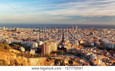 Barcelona panorama at a sunset, Spain - Catalonia