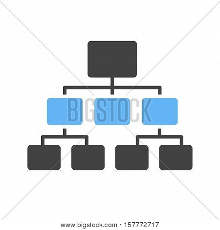 Flow chart, site map, hierarchy icon vector image. Can also be used for software development. Suitable for use on web apps, mobile apps and print media.