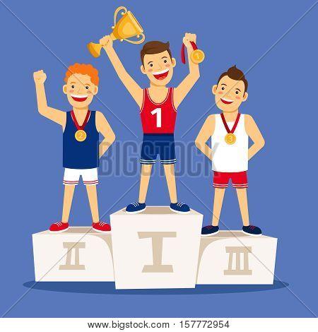Athletes winner podium. Cartoon winning sportsmen on pedestal with medals and trophy. Vector illustration