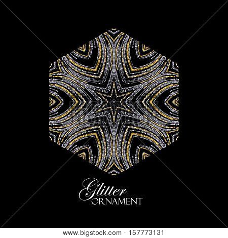 Luxury festive ornament with shiny silver and golden glitters. Vector illustration. Vintage glittering ornament. Jewelery pattern. Holiday paillettes decoration poster