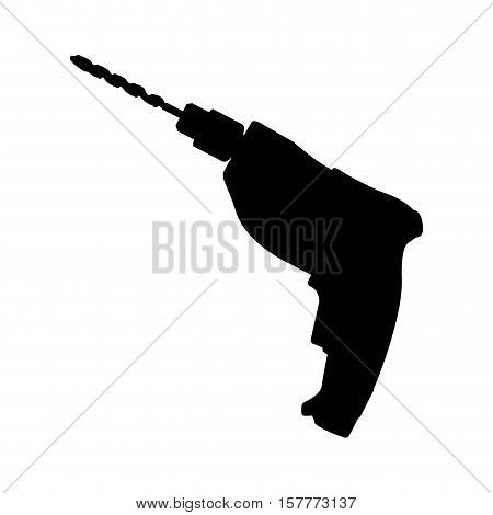black drill icon isolated on white background vector illustration