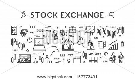 Vector line web concept stock exchange. Linear symbol commodity exchange.