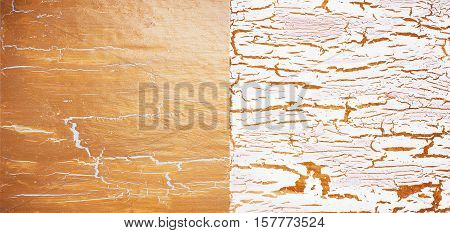 Cracked white and golden atrs antique background set