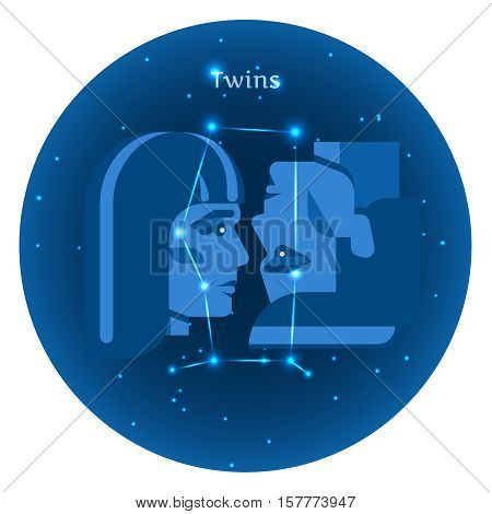 Stylized icons of zodiac signs in the night sky with zodiac bright stars constellation in front. Astrology symbol. Twins zodiac sign.