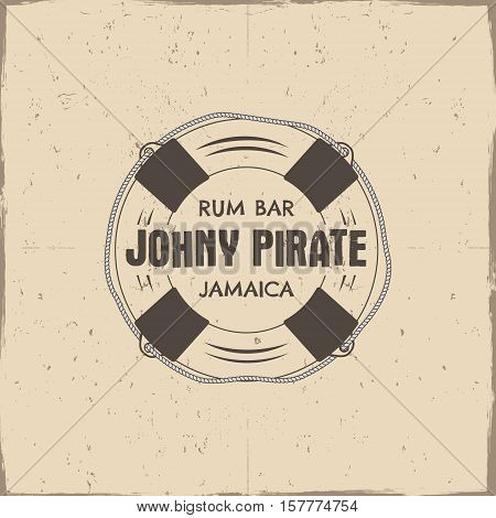 Vintage handcrafted rum bar label, emblem. sign - johny pirate, Jamaica. Sketching filled style. Pirate and sea symbols - old lifebuoy. Isolated on a scratched paper background. .