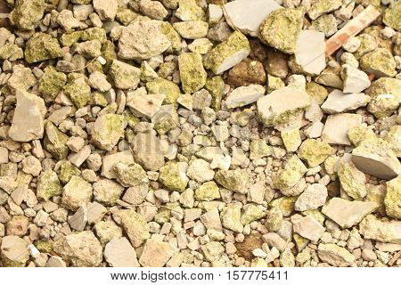 Granules and Rubble Stones Hit By Evening Sun