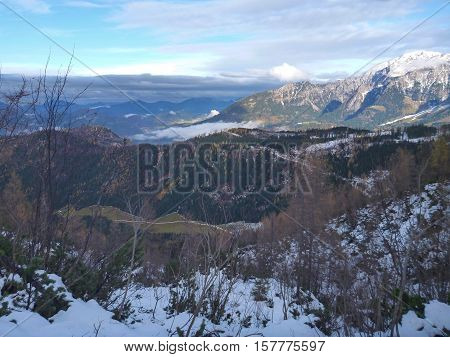 Mountain Landscape At The Beginning Of Winter In Berchtesgaden