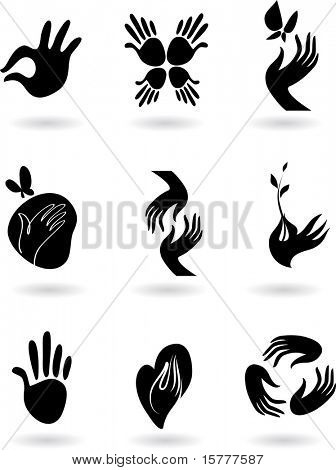 collection of silhouette hands icons