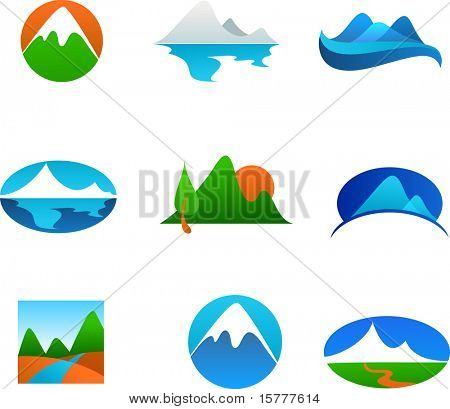collection of nature landscapes icons - mountains and rivers