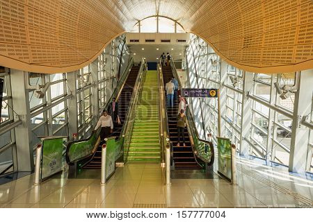 DUBAI UAE - NOVEMBER 8 2016: Interior of metro station in Dubai. Metro as world's longest fully automated metro network (75 km). The Metro is one of most effective way to explore and discover Dubai City.