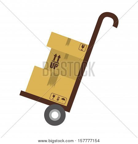 Hand truck with cardboard boxes vector illustration