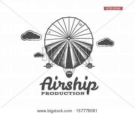 Vintage airship logo. Retro Dirigible balloon grunge template. Badge vector design. Old sketching style. Use as , label, stamp for web or tee , t-shirt print. Fly .Monochrome.