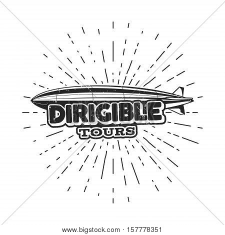 Vintage airship logo design. Retro Dirigible badge, poster. Airplane Label vector design. Old sketching style. Use as fly logo, label, stamp, patch for web design or tee design, t-shirt.