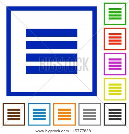 Text align justify flat color icons in square frames