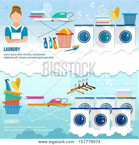 Laundry service banner dry cleaning clothes banner. Laundry room with washing machine ironing board clothes rack household chemistry cleaning washing powder and basket
