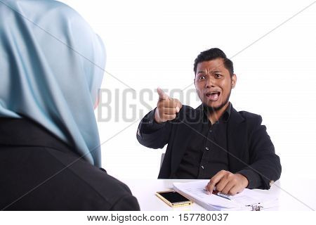 Angry Businessman Scolding His Colleagues
