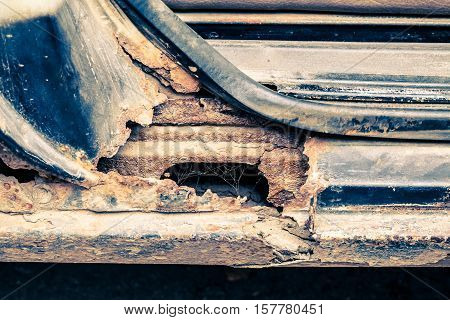 Rusty Threshold Of Car Used As Backgroun.