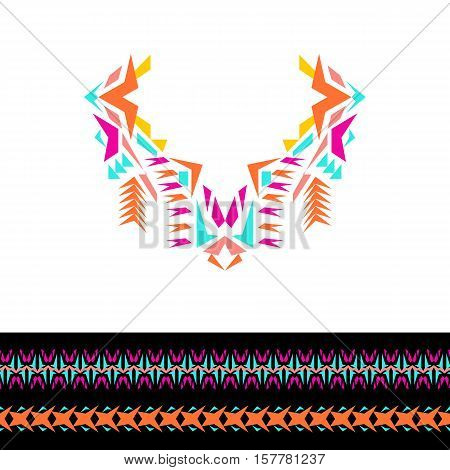Vector neckline and borders design for fashion. Ethnic tribal neck print. Chest embellishment in boho style. Aztec ornaments