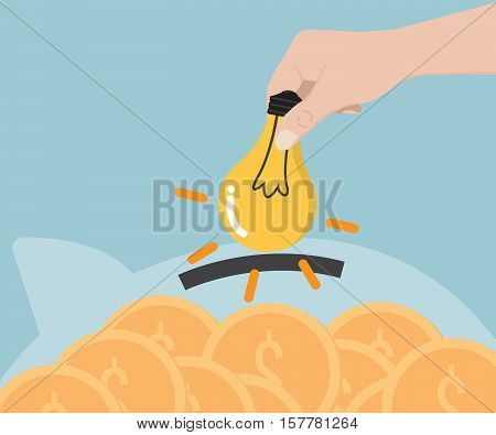 Hand Putting Bulb Idea to Piggy Bank For Exchange to Money Business Concept Vector Illustration
