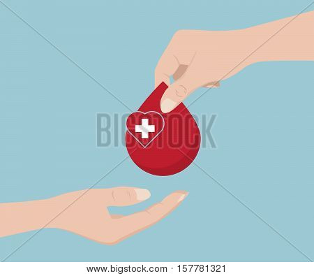 Hand Give Blood Blood Donation Donate Concept Vector Illustration