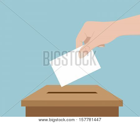 Hand Vote with Blank Paper Vote Concept Vector Illustration
