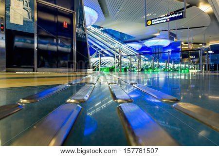 DUBAI UAE - NOV 9 2016: Interior of metro station in Dubai. Metro as world's longest fully automated metro network (75 km). The Metro is one of most effective way to explore and discover Dubai City.