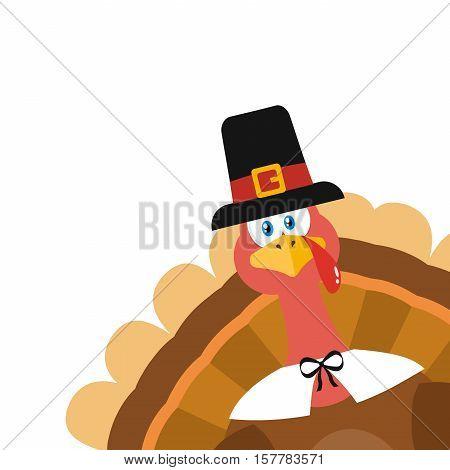 Pilgrim Turkey Bird Cartoon Mascot Character Peeking From A Corner. Illustration Flat Design Isolated On White Background