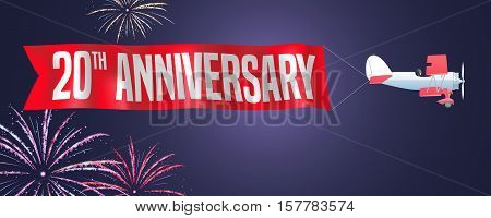20 years anniversary vector illustration banner flyer icon symbol sign. Design element with biplane and fireworks for 20th anniversary birthday card
