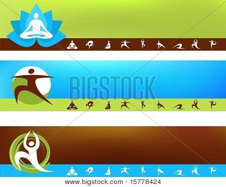 A set of vector banner templates - Yoga  theme