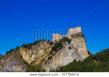 View of San Leo fortress and village, a fortified, palatial retreat of Federico da Montefeltro, Italy