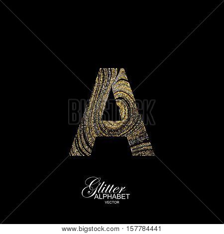 Letter A of golden and silver glitters. Typographic vector element for design. Part of marble texture imitation alphabet. Letter A with diffusion glitter lines swirly pattern. Vector illustration