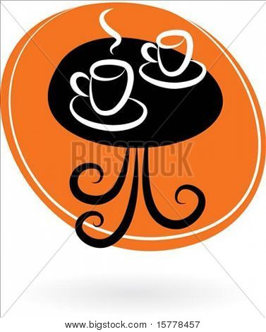 Coffee table with two cups on orange background - vector illustration