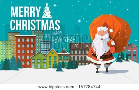 Stylish modern flat vector Christmas card with greeting, city buildings, snowflakes, cute Santa Claus holding red sack full of gifts and presents behind his back. Holiday's Christmas mood