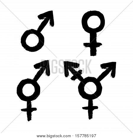 Gender related icon set. Female male LGBT transgender intersex symbols on white background. Vector illustration.