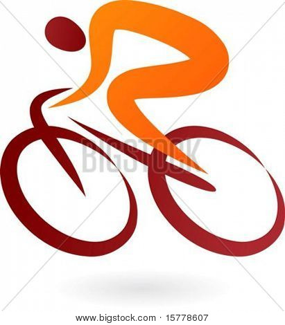 Orange and brown cyclist icon - elegant vector illustration